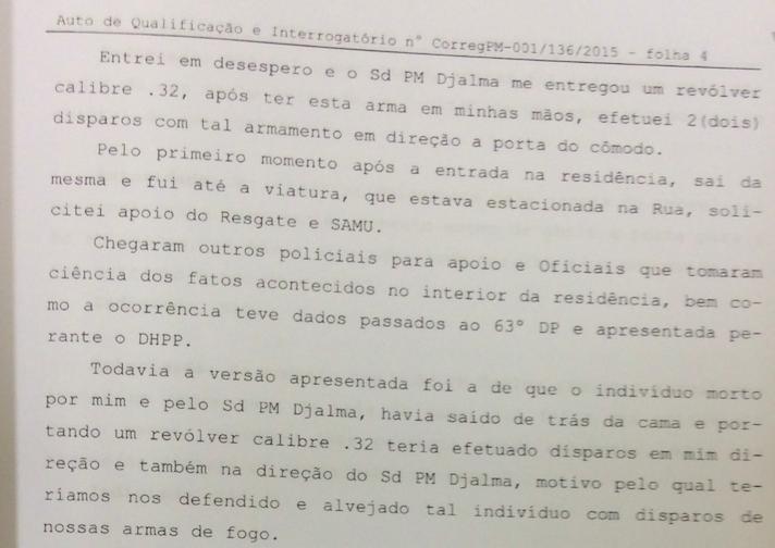 Segundo trecho da parte do depoimento no qual o sargento Akira, da PM de SP, confessa execução de pedreiro | Reprodução