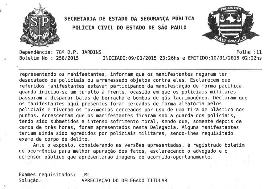 Segunda parte do registro oficial sobre os problemas na manifestação do dia 09/01, em São Paulo