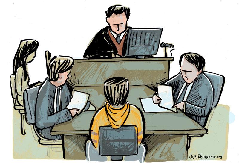 Ilustração feita durante audiência de custódia no Fórum Criminal da Barra Funda | Crédito: Junião/Ponte