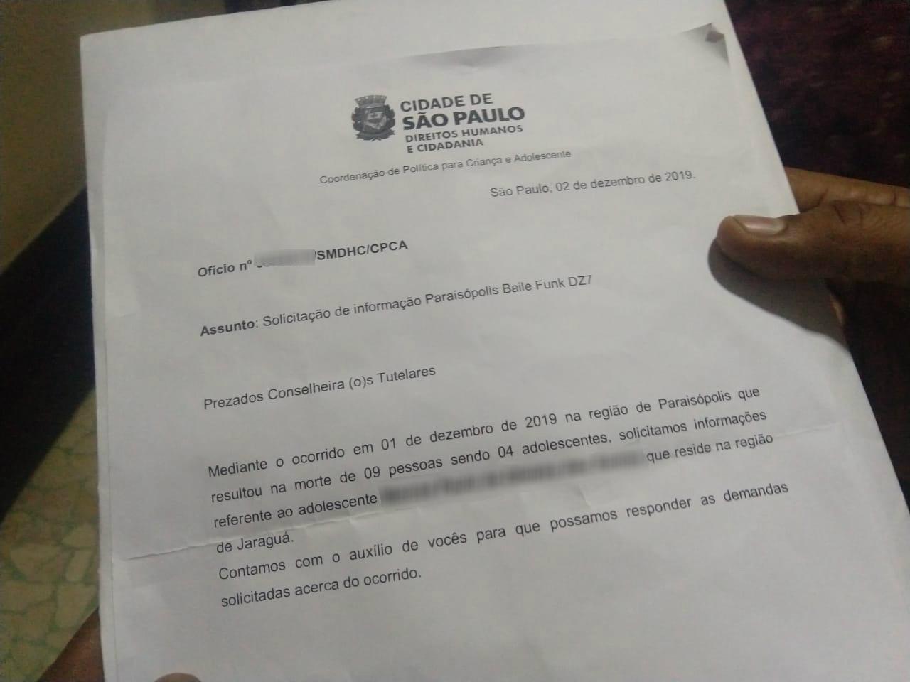 Secretaria de Direitos Humanos pediu 'ficha' de vítima do massacre de Paraisópolis