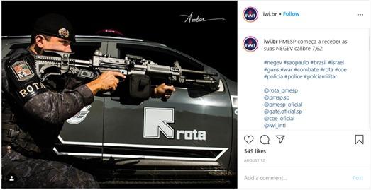 Imagem do Instagram da IWI mostra suposto PM da Rota empunhando uma metralhadora israelense Negev