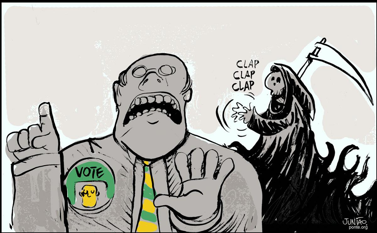 Ilustração mostra candidato a vereador com um personagem que parece ser a Morte, de caveira e ancinho, ao fundo